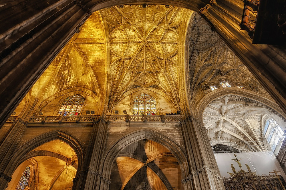 soaring interior of Seville Cathedral