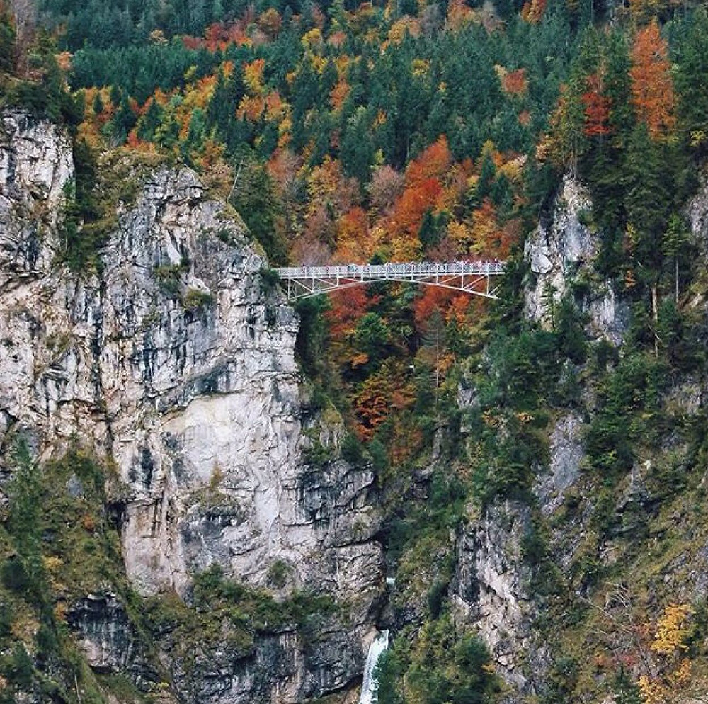 Marienbrücke (Mary's Bridge) over Pöllat Gorge named after Marie of Prussia, provides the iconic postcard view of Neuschwanstein