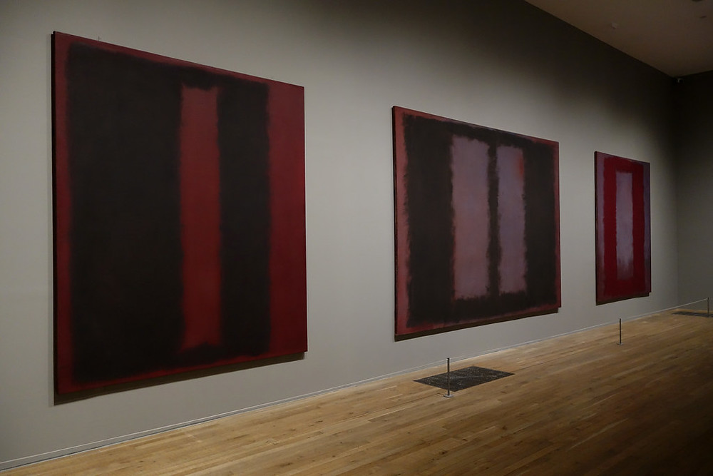 Originally commissioned to create murals for a New York restaurant, Rothko quit the job as his work took a darker and more contemplative turn. Michelangelo's Laurentian Library in Florence influenced these meditations on red, grey and brown, as Rothko sought to recreate the library's claustrophobic atmosphere. Rothko gave the final collection to the Tate, and they are displayed as he originally intended in an enclosed, dimly lit space that allows the viewer to take in their morose and meditative character.