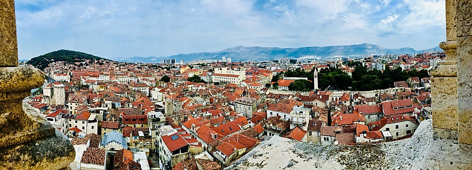 panoramic view of Trogir from the Kamerlengo Fortress