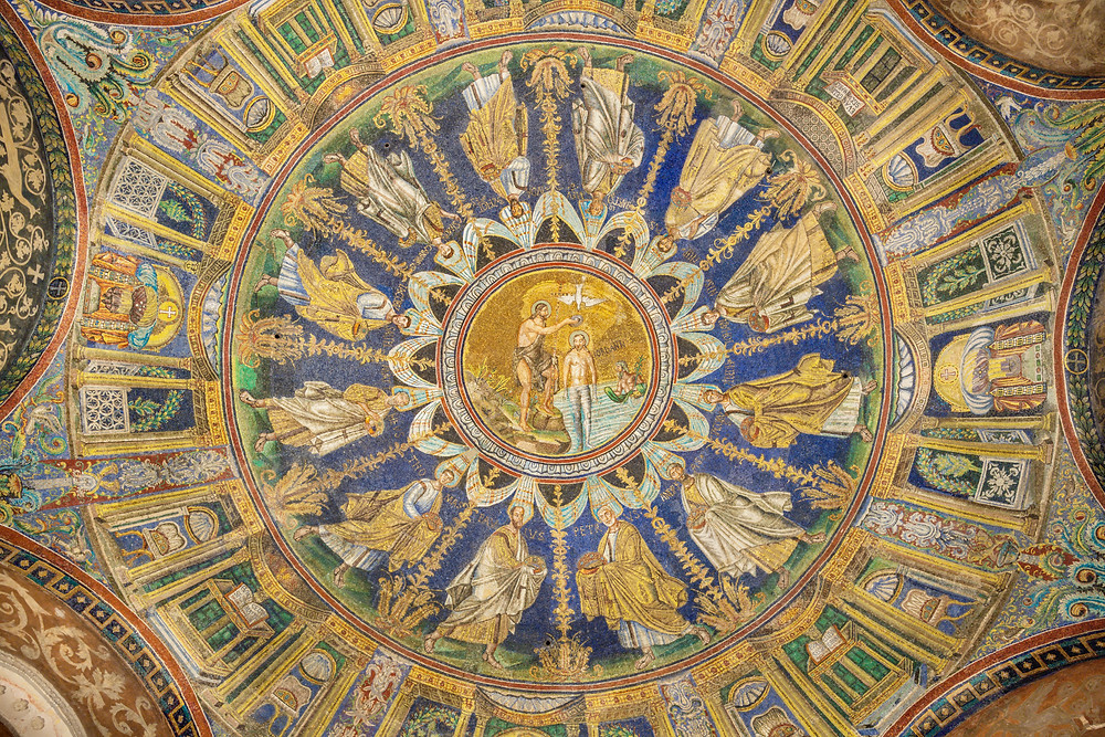 ceiling mosaics depicting the Baptism of Christ in the center among the apostles in Baptistery of Neon