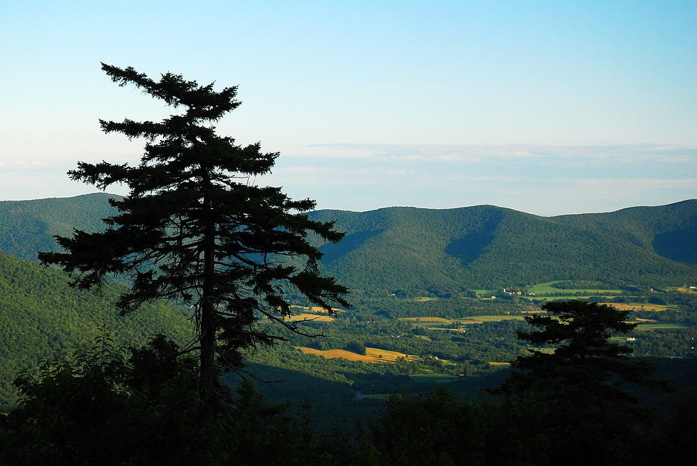 vista at the summit of Mt Greylock offers a view of the Berkshire Mountains