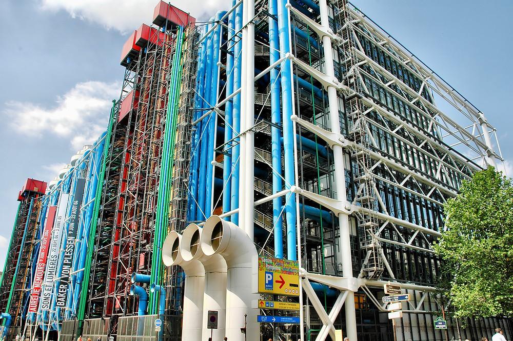the radical exterior of the Pompidou Center