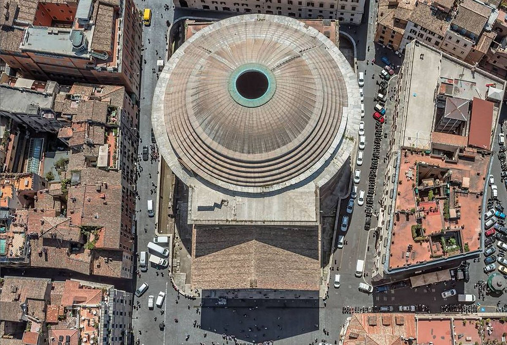 aerial view of Pantheon dome