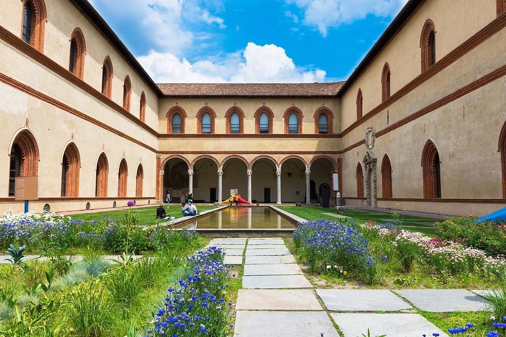 courtyard of Castle Sforza