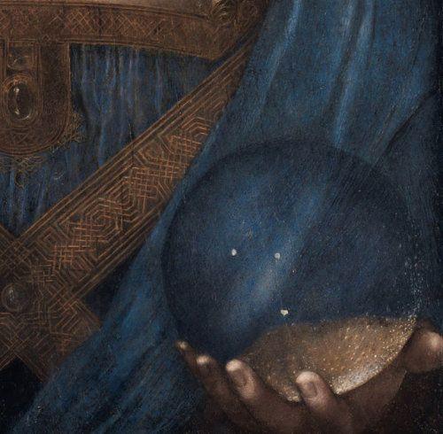 detail of the globe of Salvator Mundi