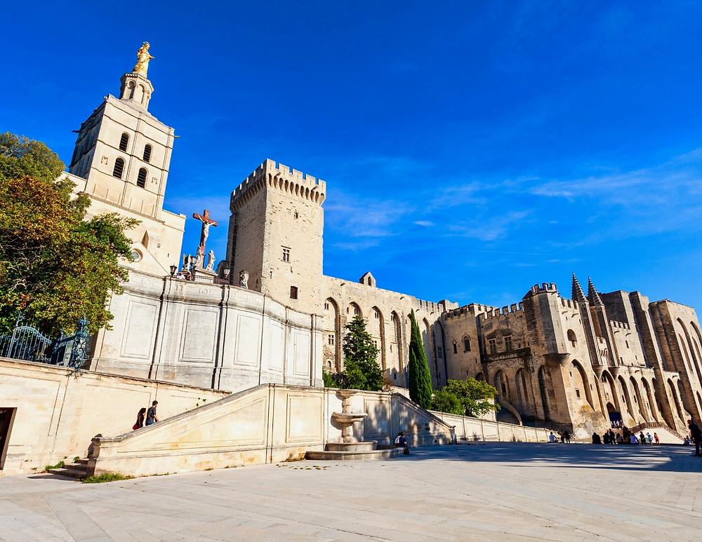 the majestic Pope's Palace in Avignon France, an unmissable site in Provence