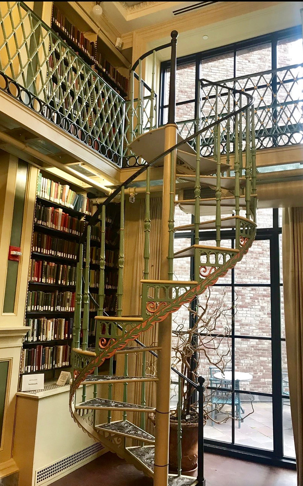 elegant spiral staircase on the second floor