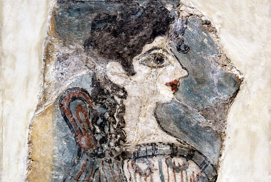 """""""La Parisienne"""" from the Camp-Stool fresco, c.1350 B.C., western wing of Knossos. It's believed to have fallen from an upper story."""