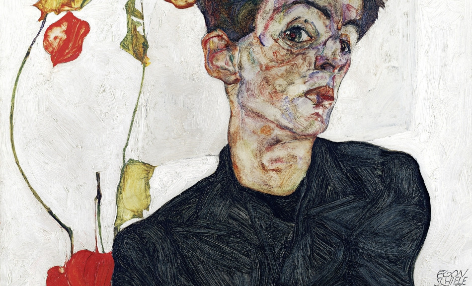 Egon Schiele, Self Portrait with Chinese Lantern, 1912 -- at the Leopold Museum