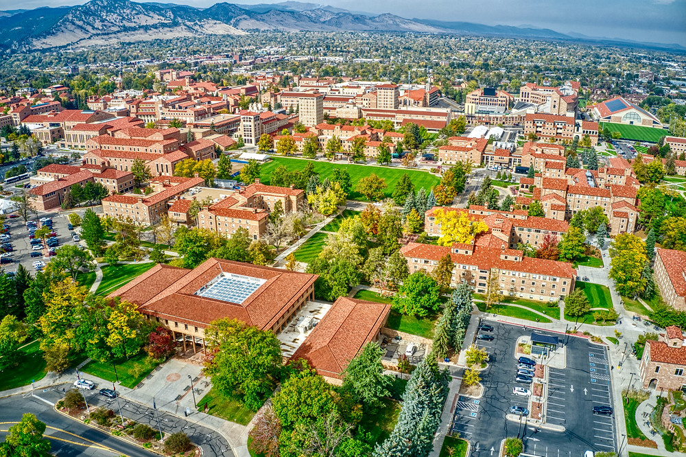 aerial view of University of Colorado at Boulder