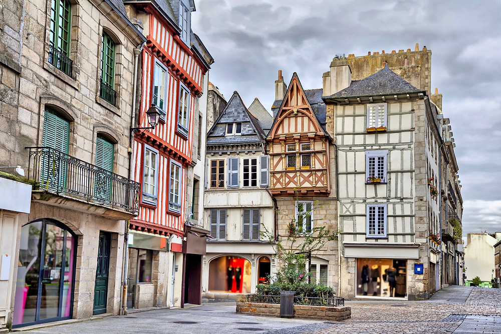 beautiful half-timbered architecture in Quimper, a must see town in northern France