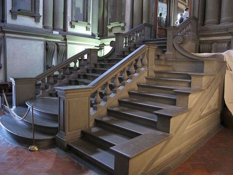 Michelangelo's Triple Staircase in the Laurentian Library in Florence