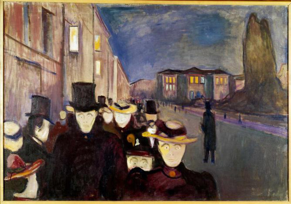 Edvard Munch, Evening on Karl Johan Street, 1892