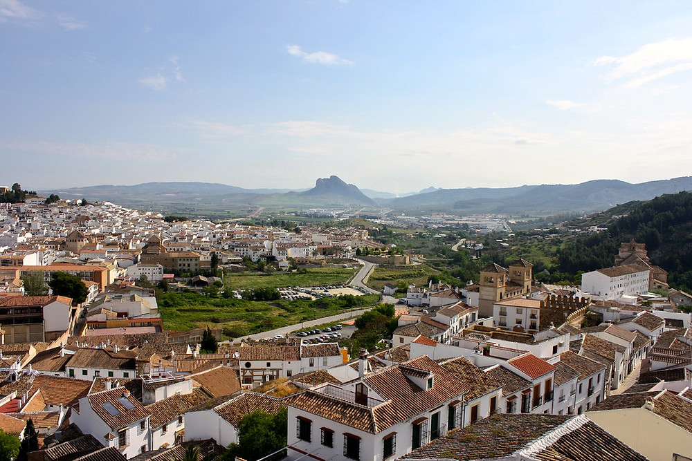 the landscape of Antequera with the iconic Lover's Rock