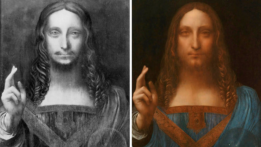 dramatic before and after restoration shots of Salvator Mundi. image source: the Guardian