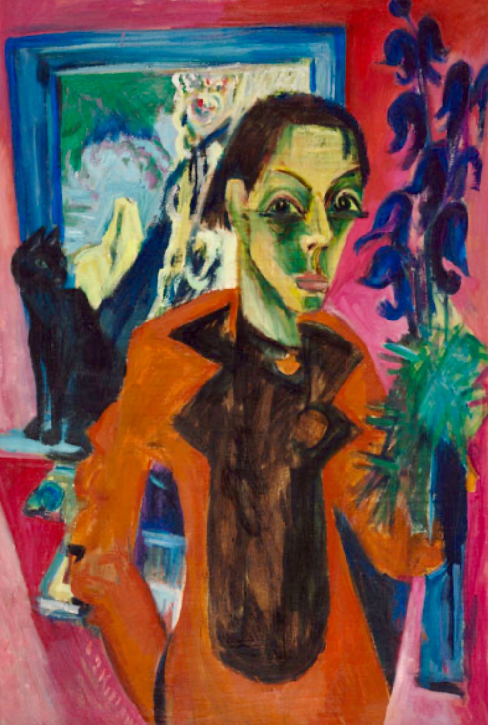 Ernst Ludwig Kirchner, Self Portrait with Cat, 1920
