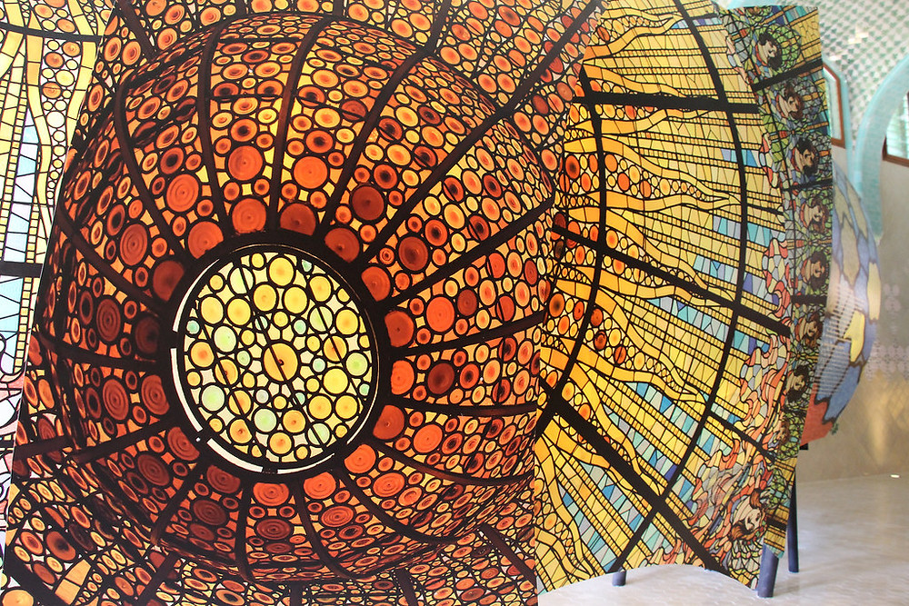stained glass ceiling of Hospital Sant Pau, very similar to the ceiling of Palau de la Musica
