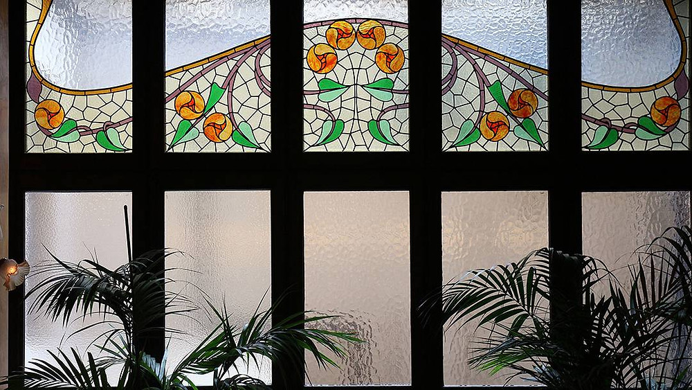 Art Nouveau stained glass in the Casa Calvet Restaurant, giving you a little hint that Gaudi was there.
