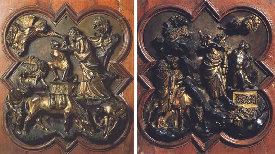 Competition Panels, Filippo Brunelleschi (left) and Lorenzo Ghiberti (right)