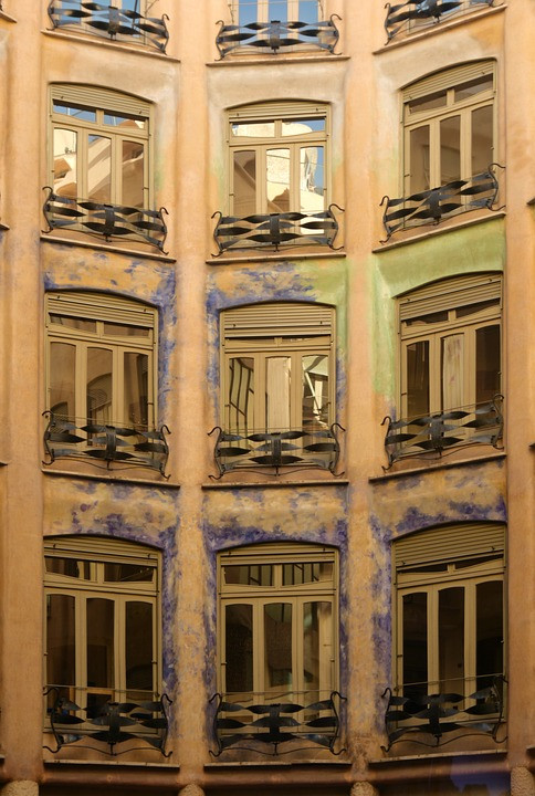 apartment windows in the interior atrium of La Pedrera