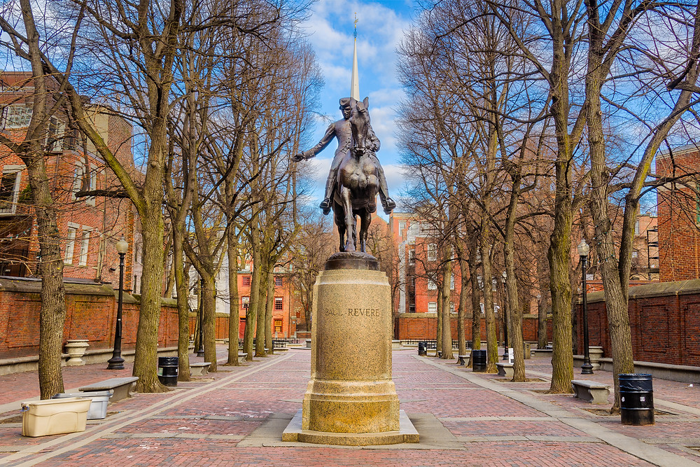 the Paul Revere Monument on the Freedom Trail in Boston