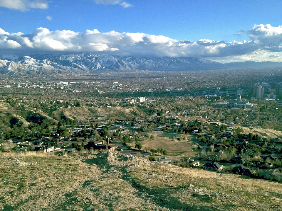 views from Ensign Peak in Salt Lake City