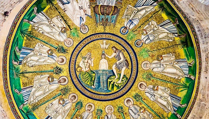 central mosaic in the Arian Baptistery in Ravenna