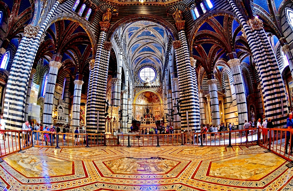 the nave of Siena Cathedral