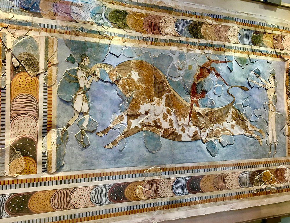 Leaping Bull fresco on display at the Heraklion Museum