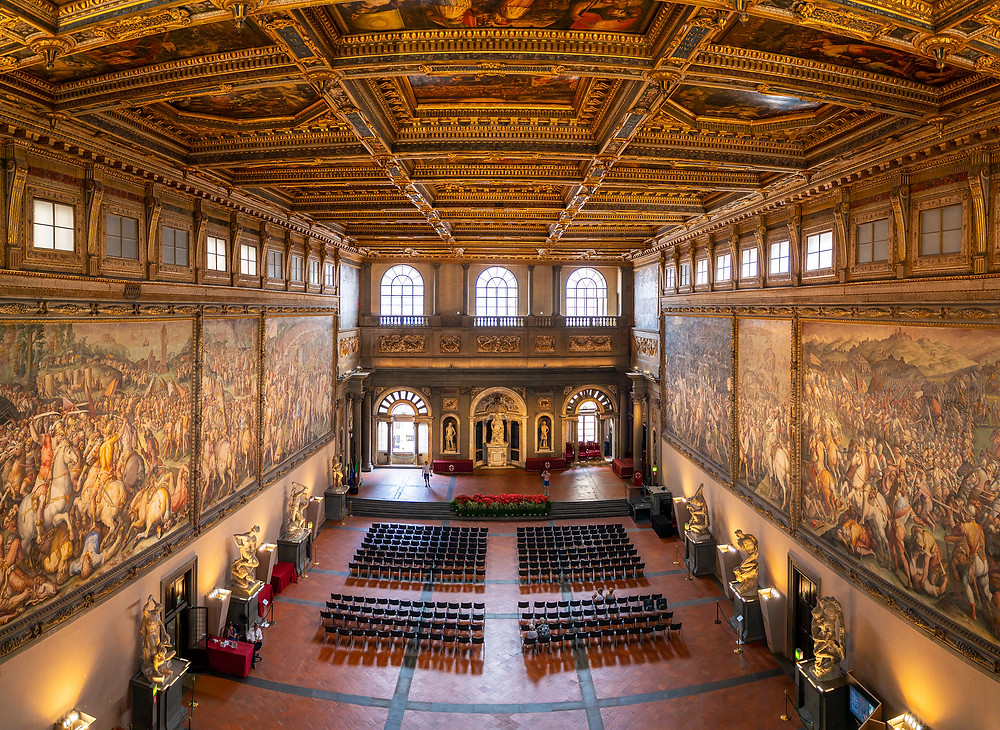Hall of the Five Hundred in the Palazzo Vecchio, with Giorgio Vasari frescos