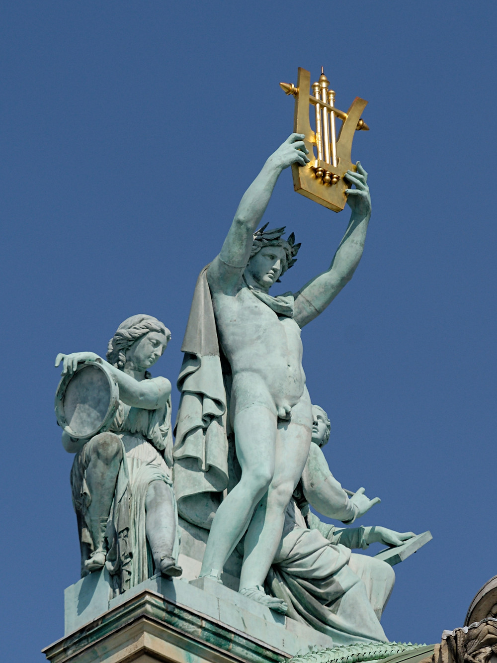 at the very tip top of the Pairs Opera you'll see Apollo holding up a lyre