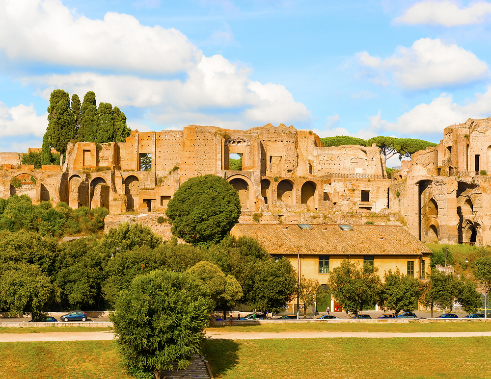 view of Palatine Hill from the Circus Maximus