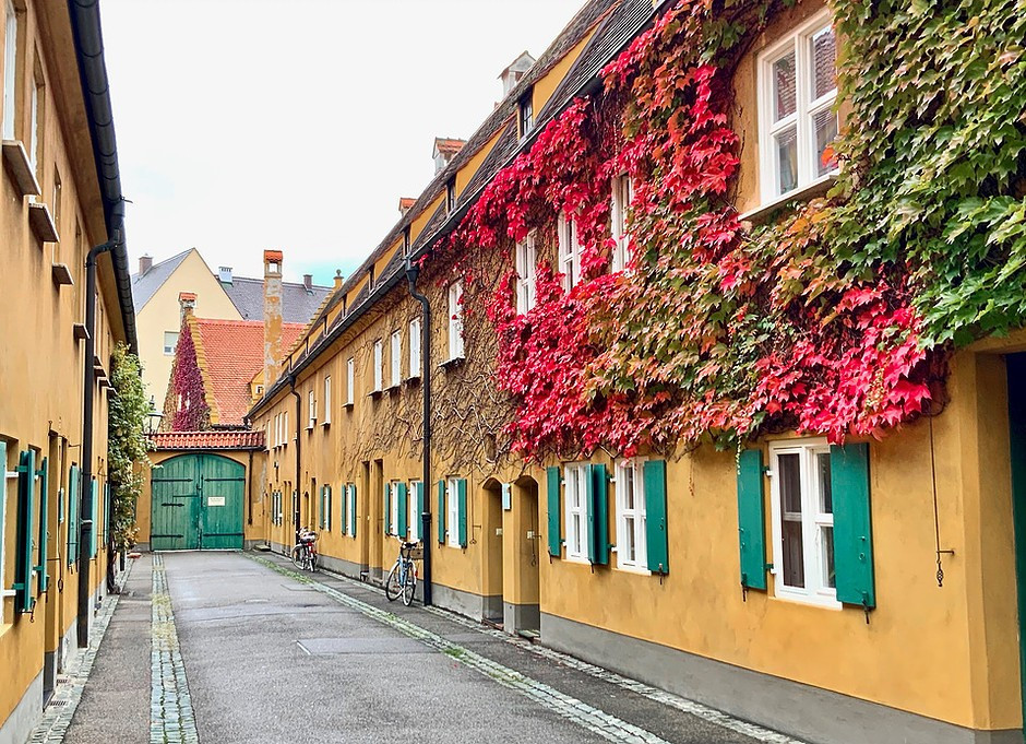 the quaint ivy covered neighborhood of Fuggerei in Augsburg