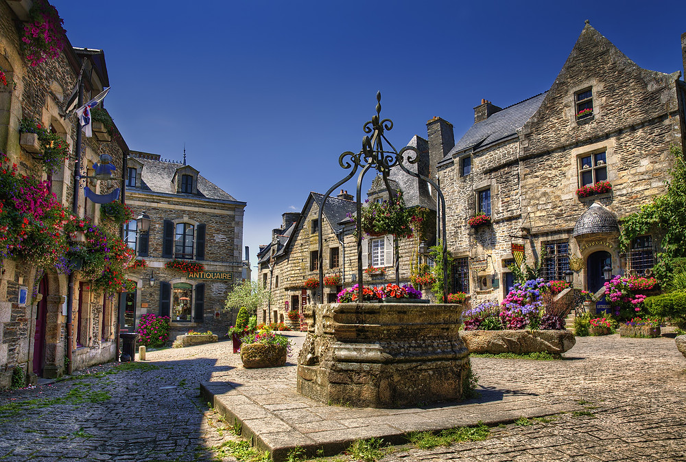 Place du Puits in Rochefort-en-Terre, a beautiful town in northern France