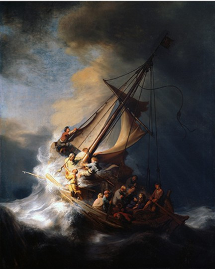 Rembrandt's only seascape, Christ in the Storm on the Sea of Galilee -- stolen in a heist at the Isabella Stewart Garner Museum