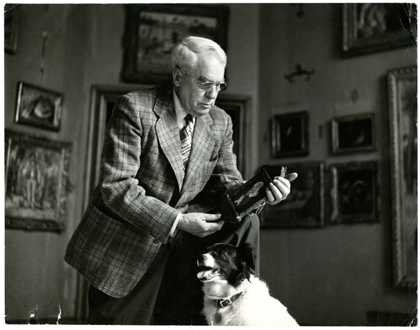 art collector Albert C. Barnes in his art institution in Merion PA