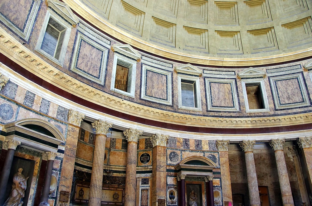interior of the Pantheon, with a good look at the drum