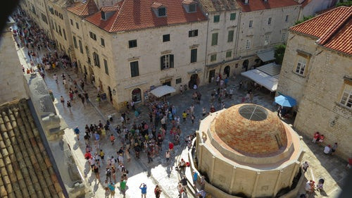 Stradun Street and Onofrio Fountain in Dubrovnik Croatia