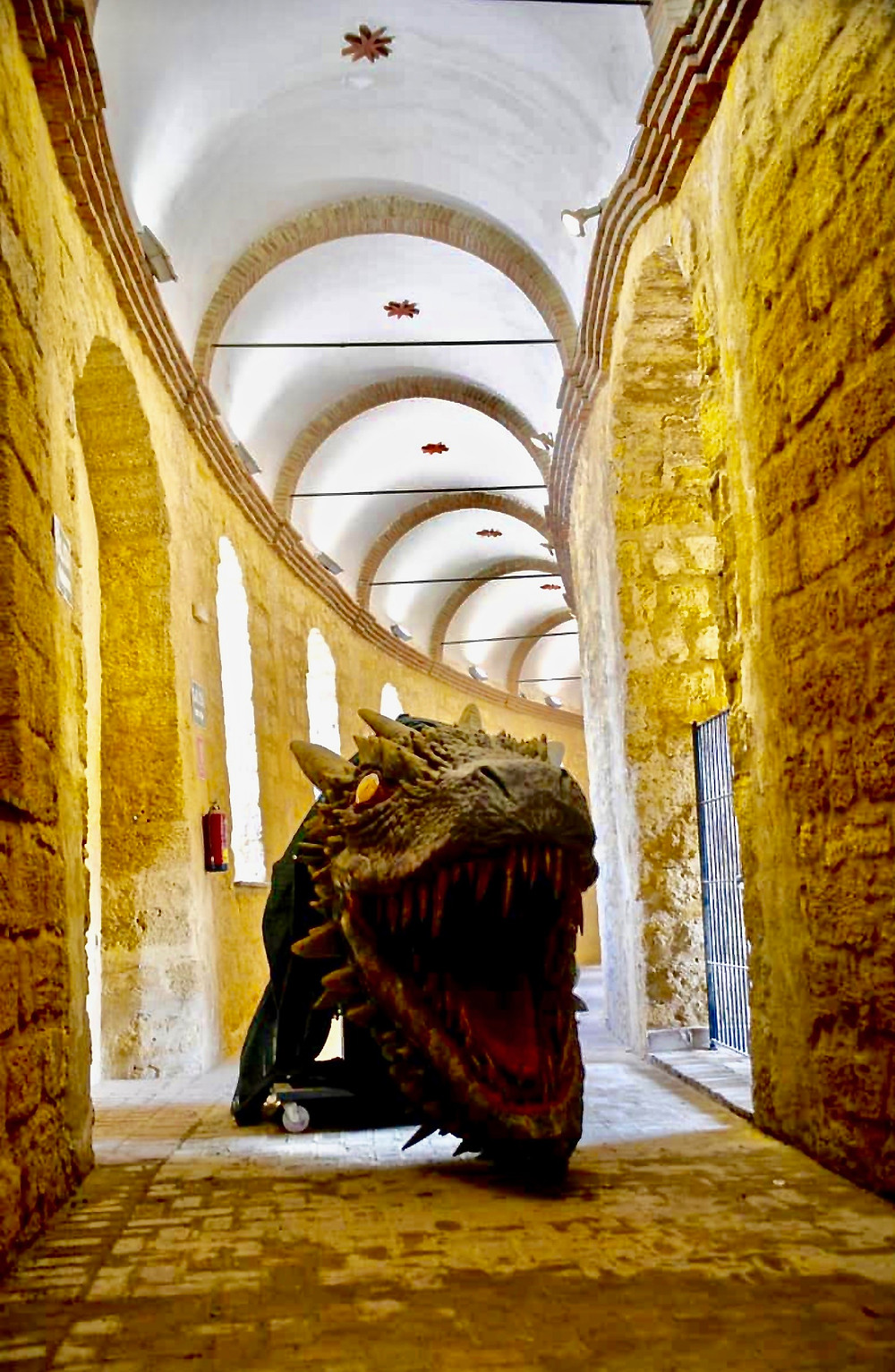 a dragon skull greets you in the Osuna bullring
