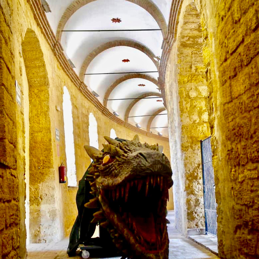 a corridor in the Plaza de Toros, the bullring in Osuna Spain, with a replica of Drogon's head from Game of Thrones