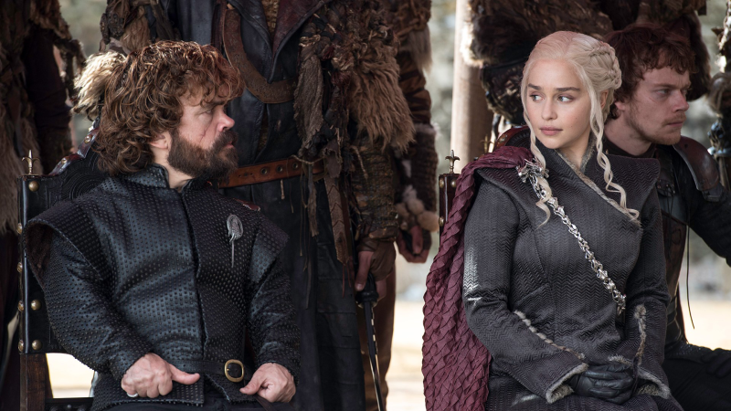 Daenerys and Tyrion try in vain to persuade Cersei that white walkers are really really bad.
