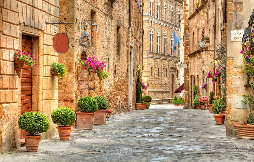 a beautiful street in medieval PIenza