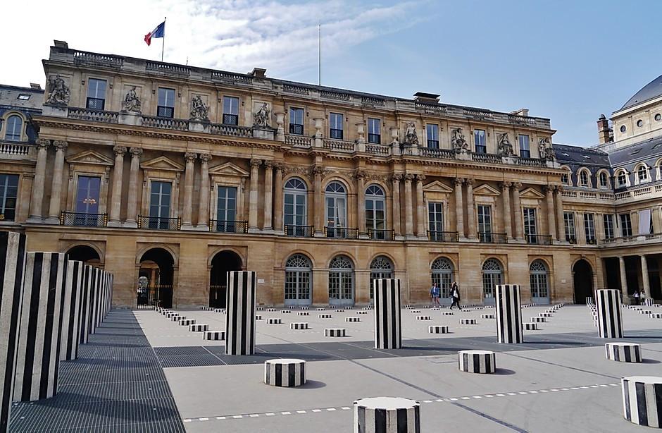 the Palais Royal decorated with Daniel Buren's art installation, the Colonnes de Buren