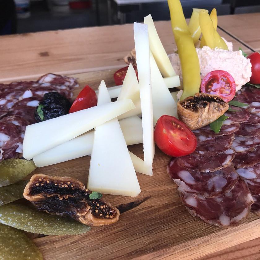 deer salami platter for lunch at Grajska Plaza in Bled Slovenia