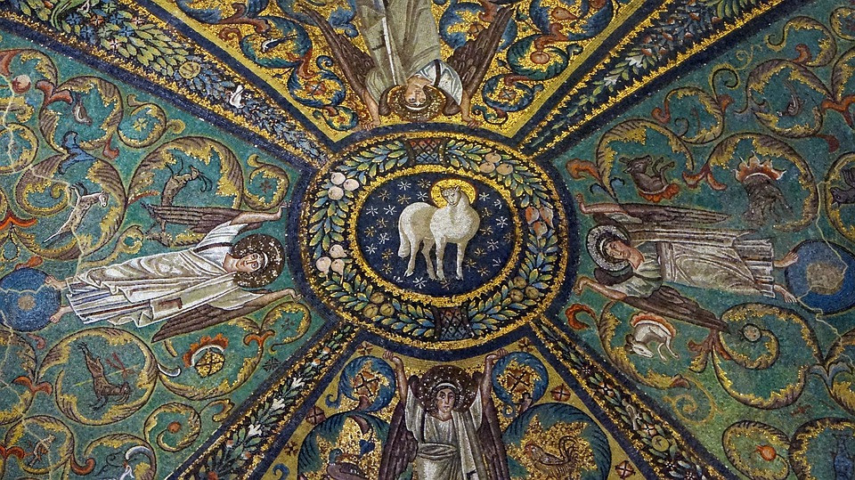 mosaics in the Basilica of san Vitale in Ravenna, an image of the Lamb of God