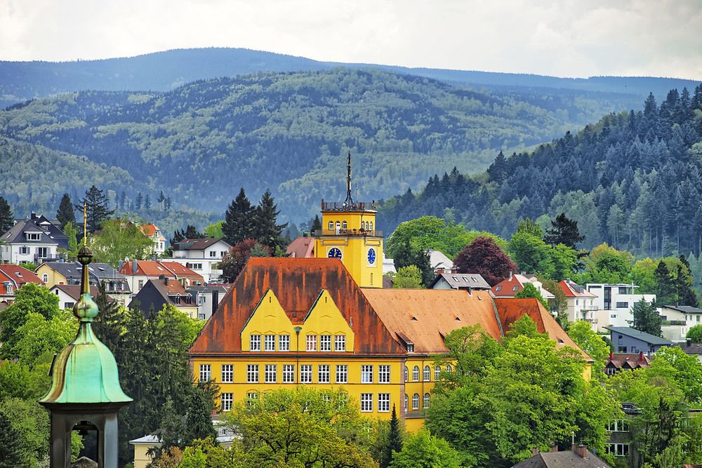 panoramic view of the spa town of Baden Baden Germany