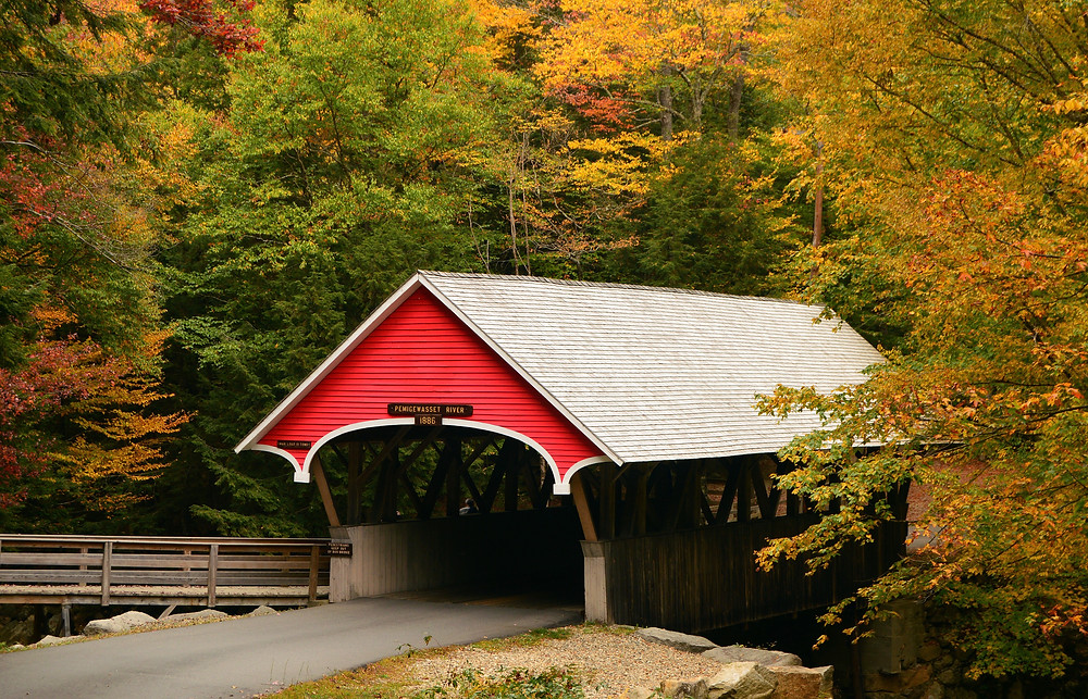 covered bridge in Franconia Notch State Park, over the Pemigewasset River