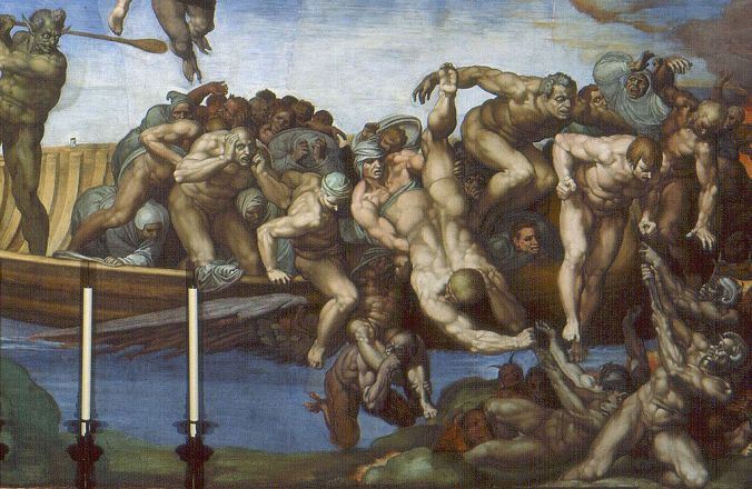 Detail of The Last Judgement by Michelangelo, which appeared to have influenced Géricault