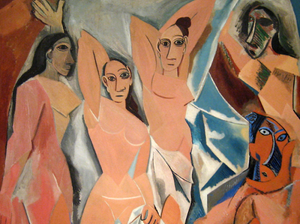Pablo Picasso, Desmoiselles D'Avignon, 1907 -- Picasso used stolen Iberian statues from the Louvre as inspiration for the African masks in his painting